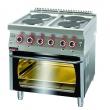 Kuchnia gastronomiczna elektryczna 4-płytowa z piekarnikiem el. | KROMET 700.KE-4/PE-2 - 700.KE-4/PE-2