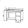 Stół nierdzewny ze zlewem 1-komorowym i blokiem szuflad E2145