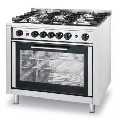 Kuchnia gastronomiczna gazowa 5-palnikowa z piekarnikiem<br />model: 225707<br />producent: Hendi