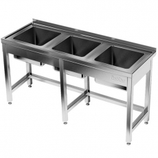 Stół nierdzewny ze zlewem 3-komorowym<br />model: E2410/2300/600<br />producent: ProfiChef
