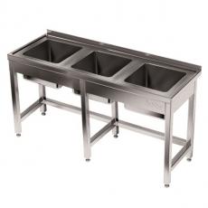 Stół nierdzewny ze zlewem 3-komorowym<br />model: E2410/1900/600<br />producent: ProfiChef