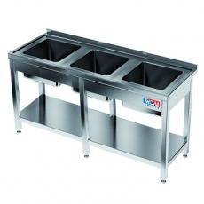 Stół nierdzewny ze zlewem 3-komorowym i półką<br />model: E2420/2500/600<br />producent: M&M Gastro