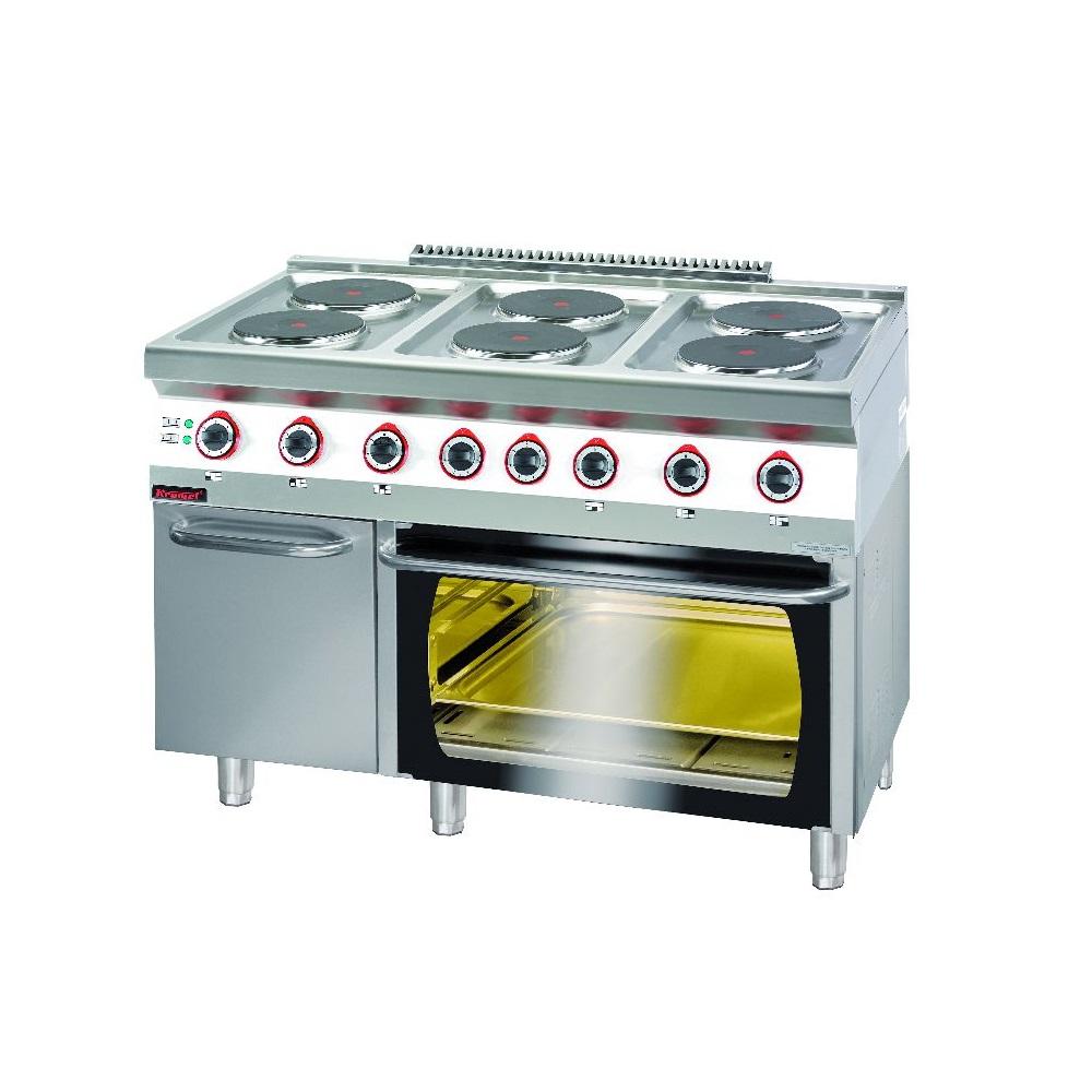 Kuchnia gastronomiczna elektryczna 6 płytowa z piekarnikiem el  KROMET 700  -> Kuchnia Elektryczna Gastronomiczna Używana