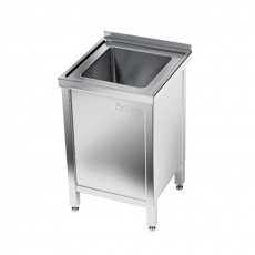 Stół nierdzewny ze zlewem 1-komorowym i szafką<br />model: E2050/500/600<br />producent: ProfiChef