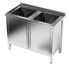 Stół nierdzewny ze zlewem 2-komorowym i szafką<br />model: E2270/1000/700<br />producent: ProfiChef